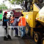Proceso de construcción o mejoramiento de calles en Managua