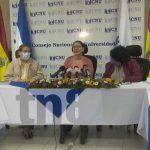 Conferencia de prensa del CNU sobre actividades de universidades y un convenio con Palestina