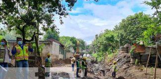 Obras de drenaje pluvial avanzan en el barrio Francisco Salazar, Managua