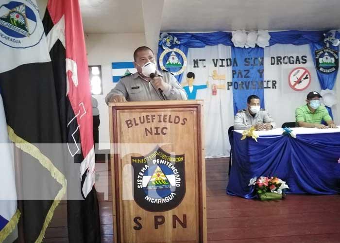 Acto en el sistema penitenciario de Bluefields por el programa Mi Vida Sin Drogas