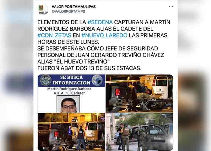 """Capturan a """"El Cadete"""", líder de la Tropa del Infierno en Tamaulipas"""