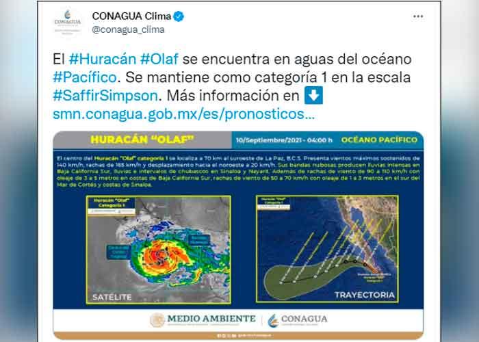 Trayectoria del huracán Olaf por baja california sur
