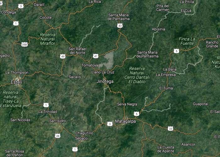 Imagen satelital de Jinotega, Nicaragua