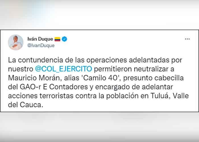 """Presidente de Colombia felicita al ejército por la captura de alias """"camilo 40"""""""