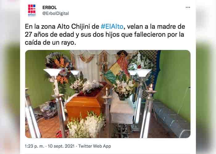 Un rayo mata a una madre y sus hijos cuando iban a una fiesta en Bolivia
