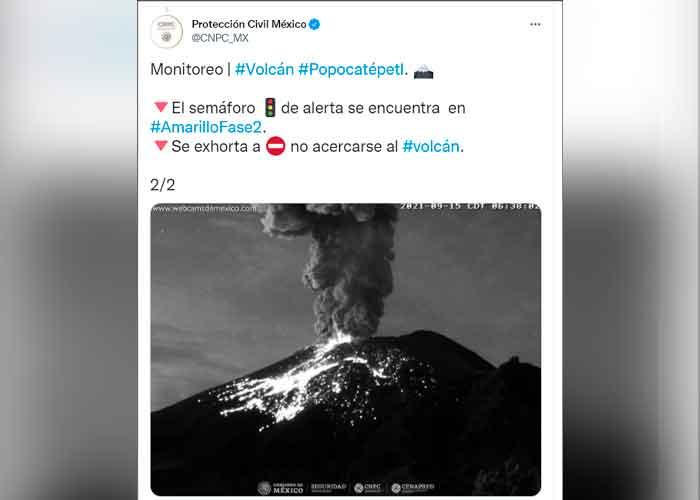 Alerta: Volcán Popocatépetl registra explosión con material incandescente