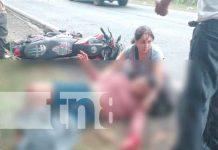 Motociclista grave en accidente de tránsito en Tipitapa