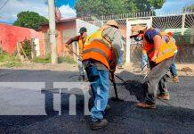Asfaltan siete calles del barrio Villa Austria en Managua