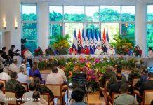 Firma de acuerdo fronterizo entre Nicaragua y Honduras, presidido por el Comandante Daniel Ortega