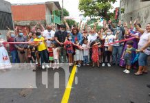 Inauguración de mejoramiento vial en el barrio Hialeah, Managua