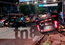 Accidente de tránsito cerca de la rotonda El Güegüense